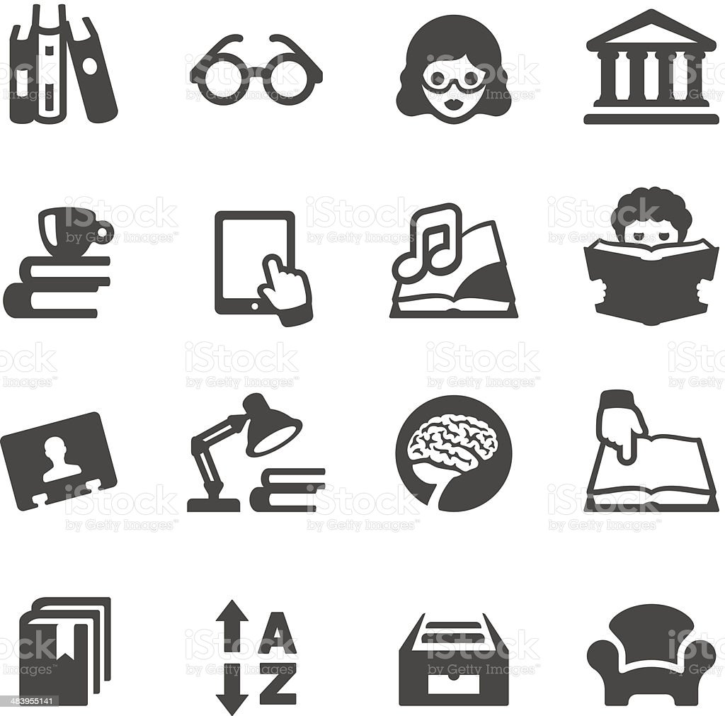 Vector illustration of books and library icons vector art illustration