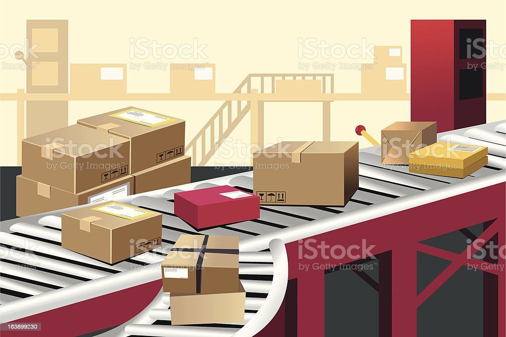 Vector illustration of boxes on a warehouse conveyor belt royalty-free stock vector art