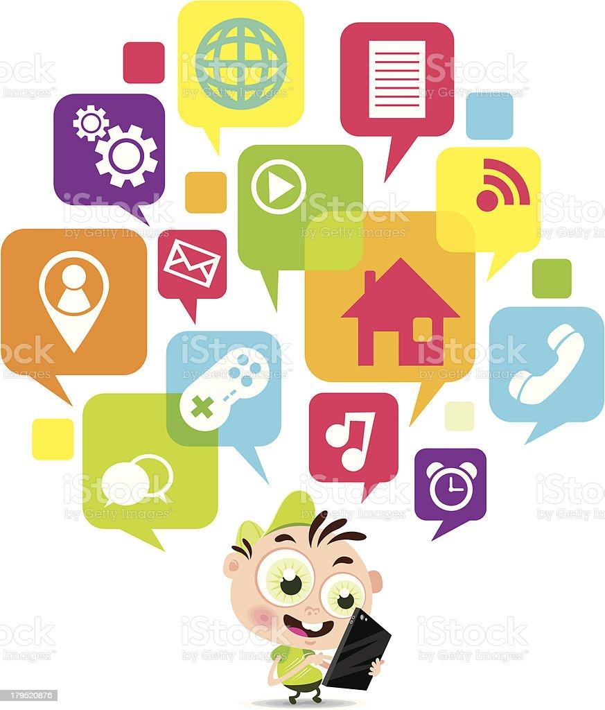 Vector Illustration of boy with digital tablet royalty-free stock vector art