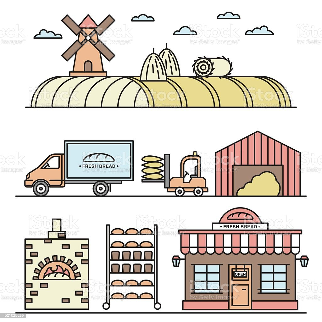 Vector illustration of bread processing vector art illustration