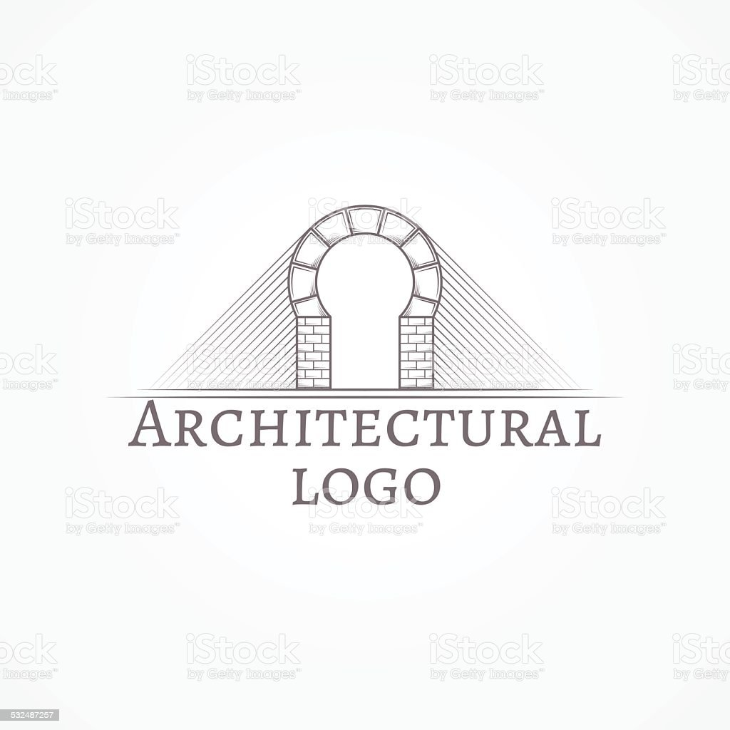 Vector illustration of brick round arch icon with text vector art illustration