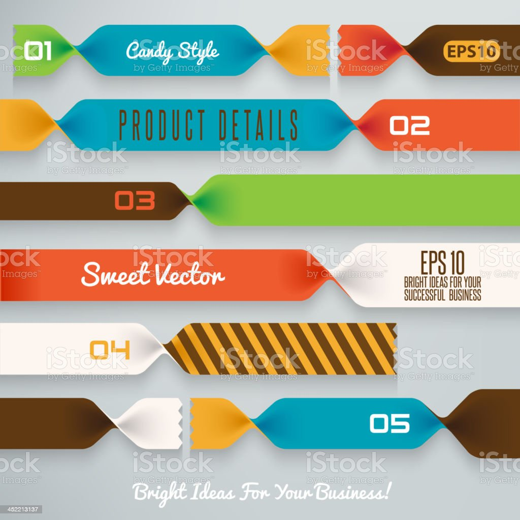 Vector illustration of bright candy ribbons royalty-free stock vector art