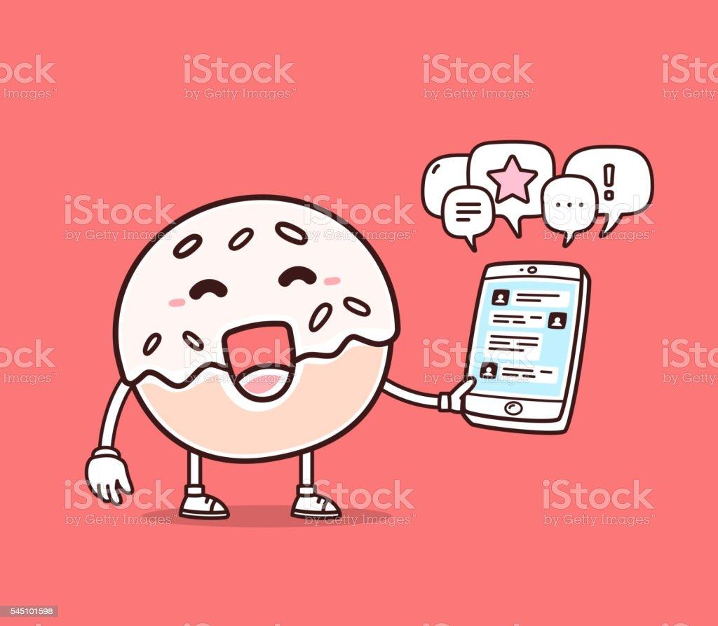 Vector illustration of bright color smile donut holding phone vector art illustration