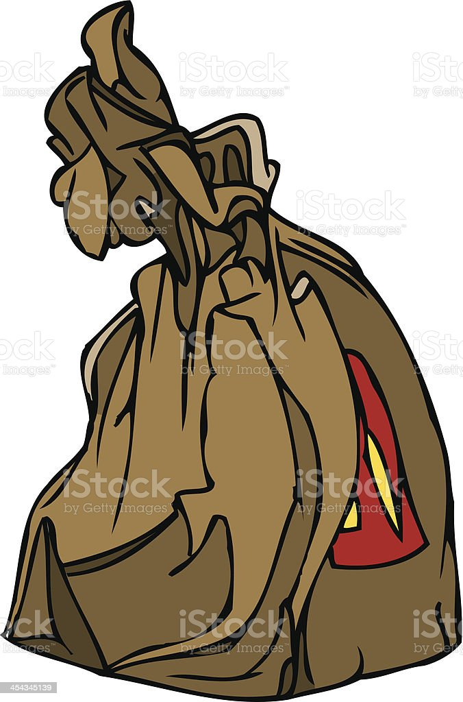 Vector Illustration of Brown Paper Fast Food Takeaway Bag royalty-free stock vector art