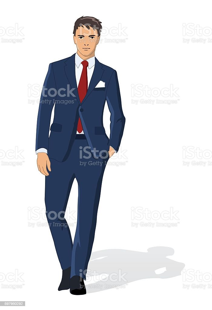 Vector illustration of business man isolated on white vector art illustration
