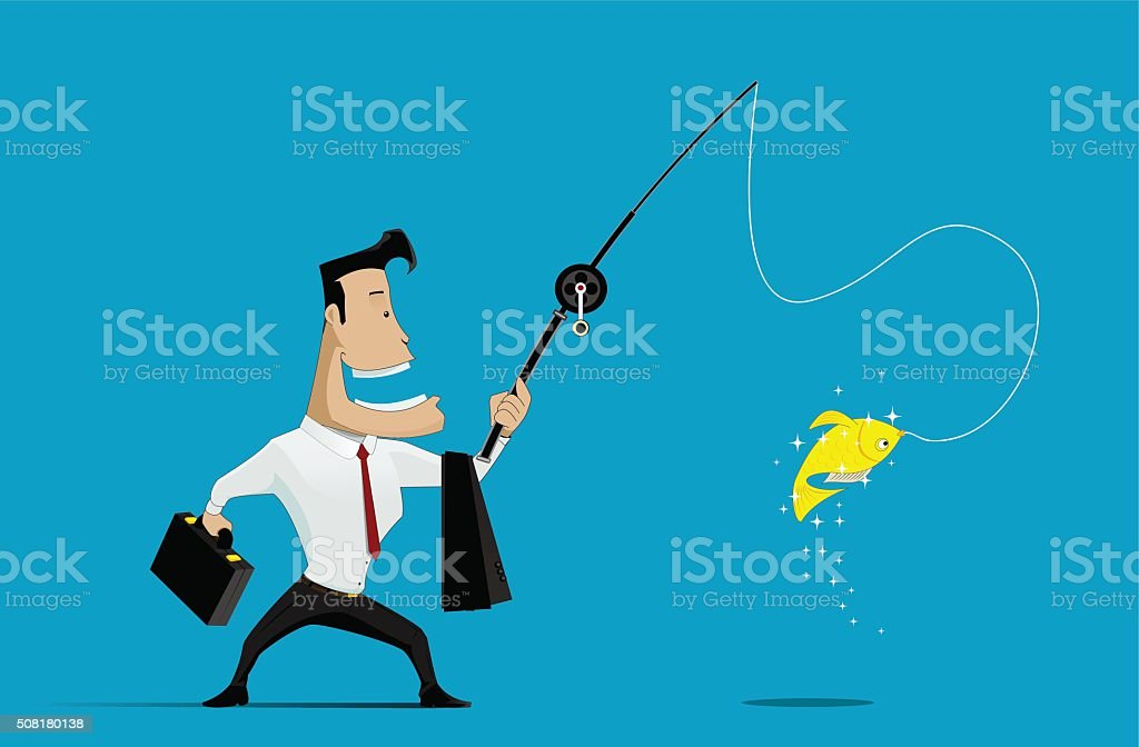Vector illustration of Businessman fishing goldfish vector art illustration