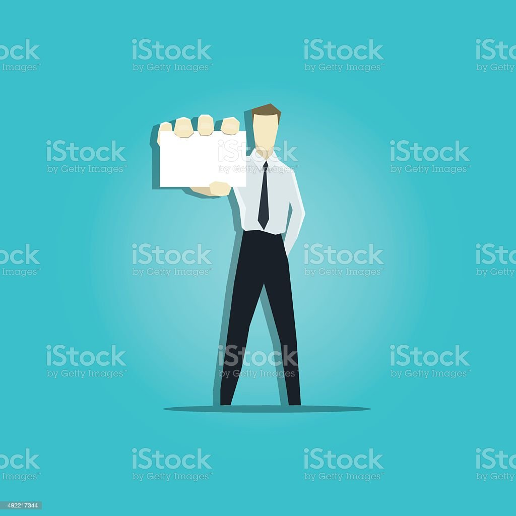 Vector illustration of businessman is showing a business card vector art illustration