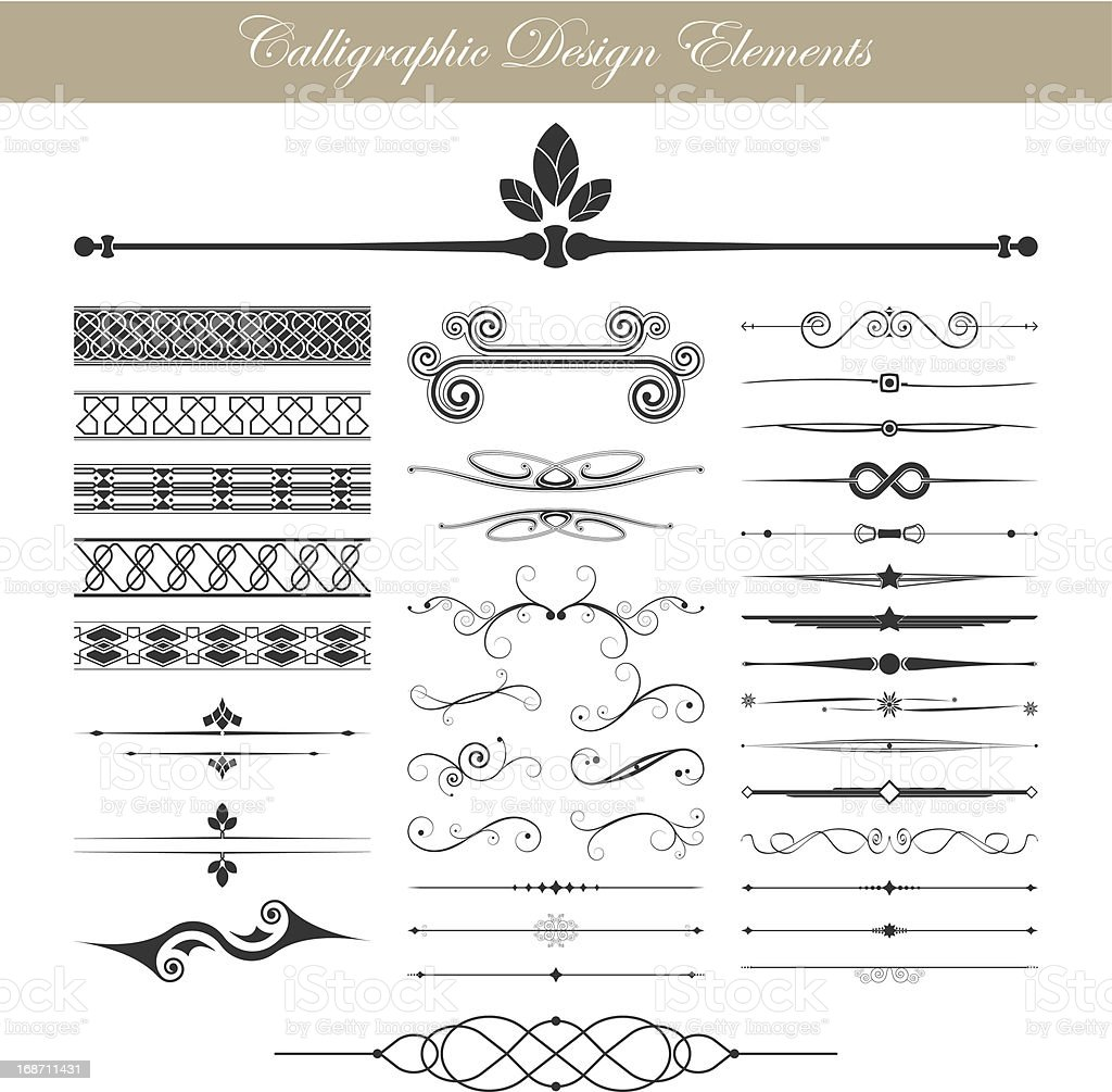Vector illustration of calligraphic elements vector art illustration