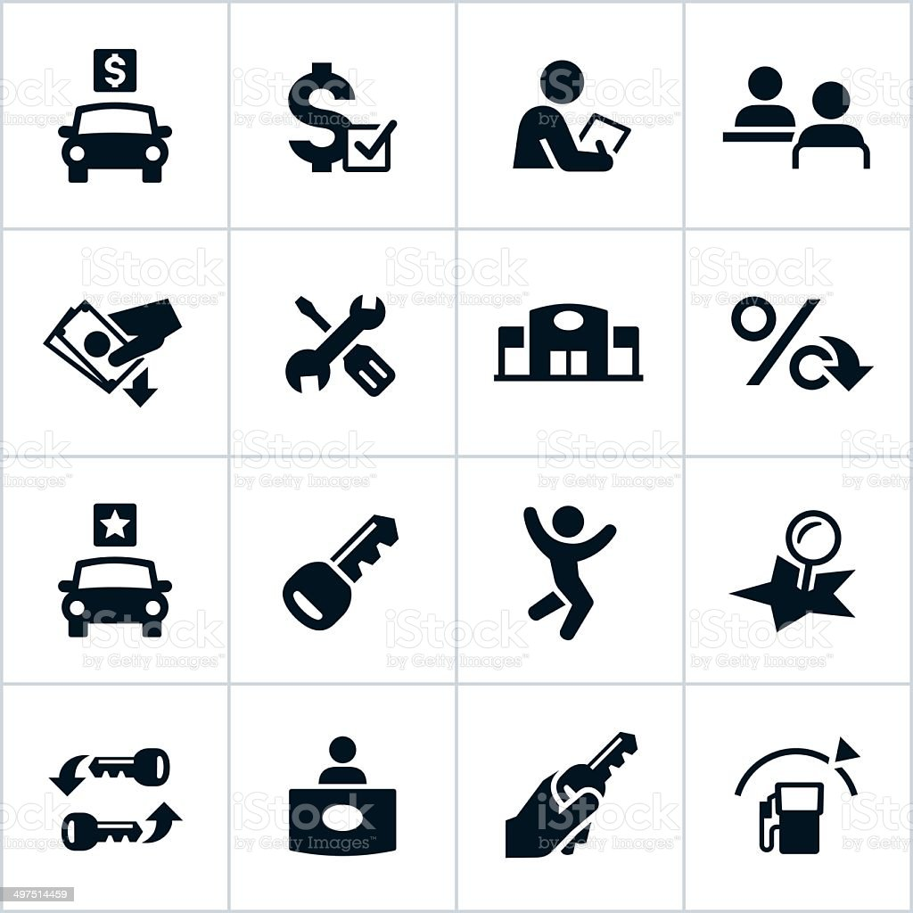 Vector illustration of car dealership icons vector art illustration