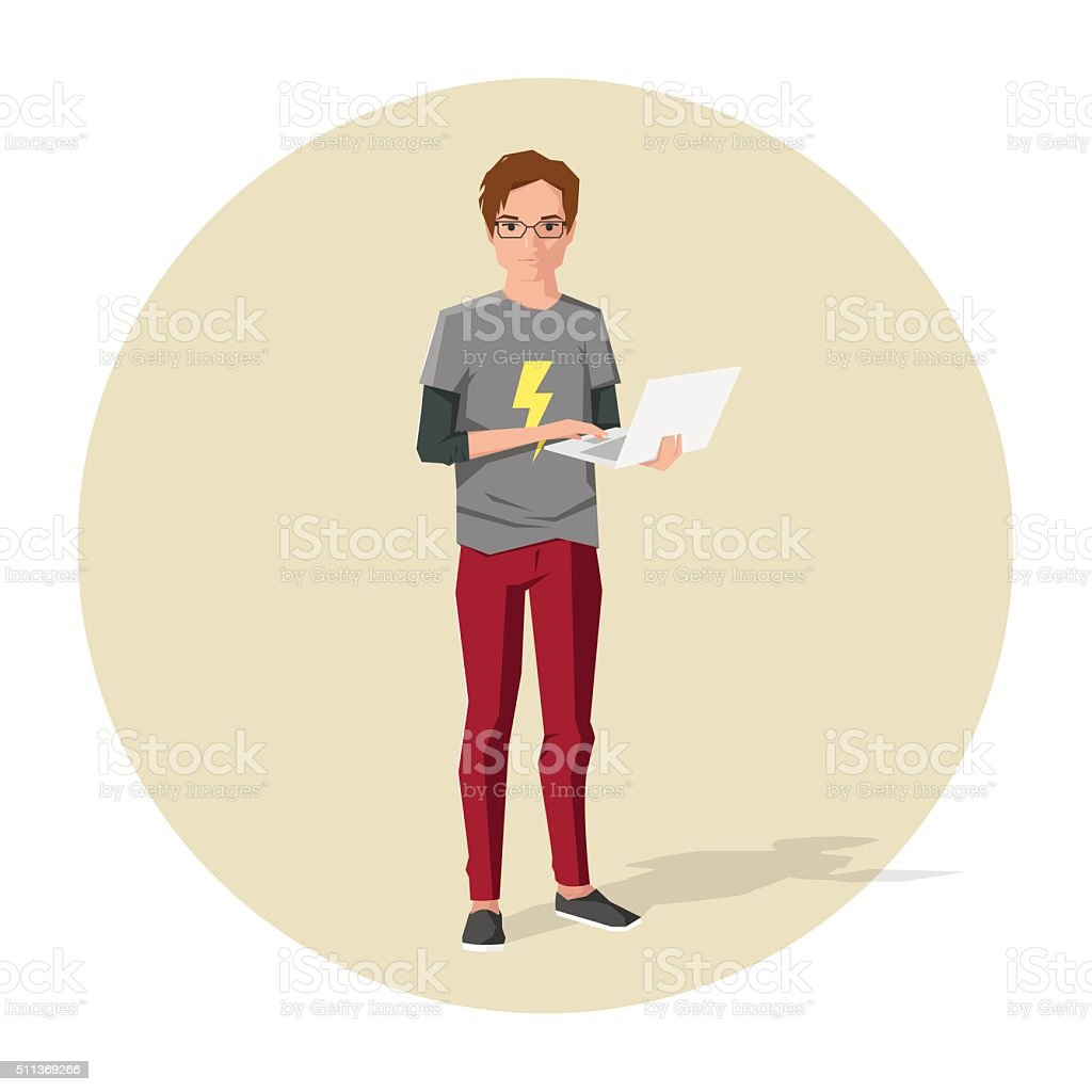 Vector illustration of cartoon guy or nerd with notebook vector art illustration