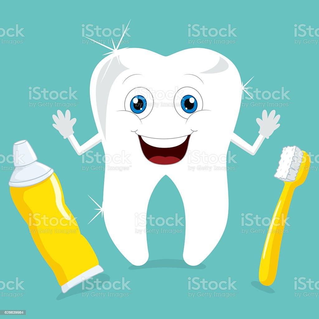 Vector Illustration Of Cartoon Tooth vector art illustration