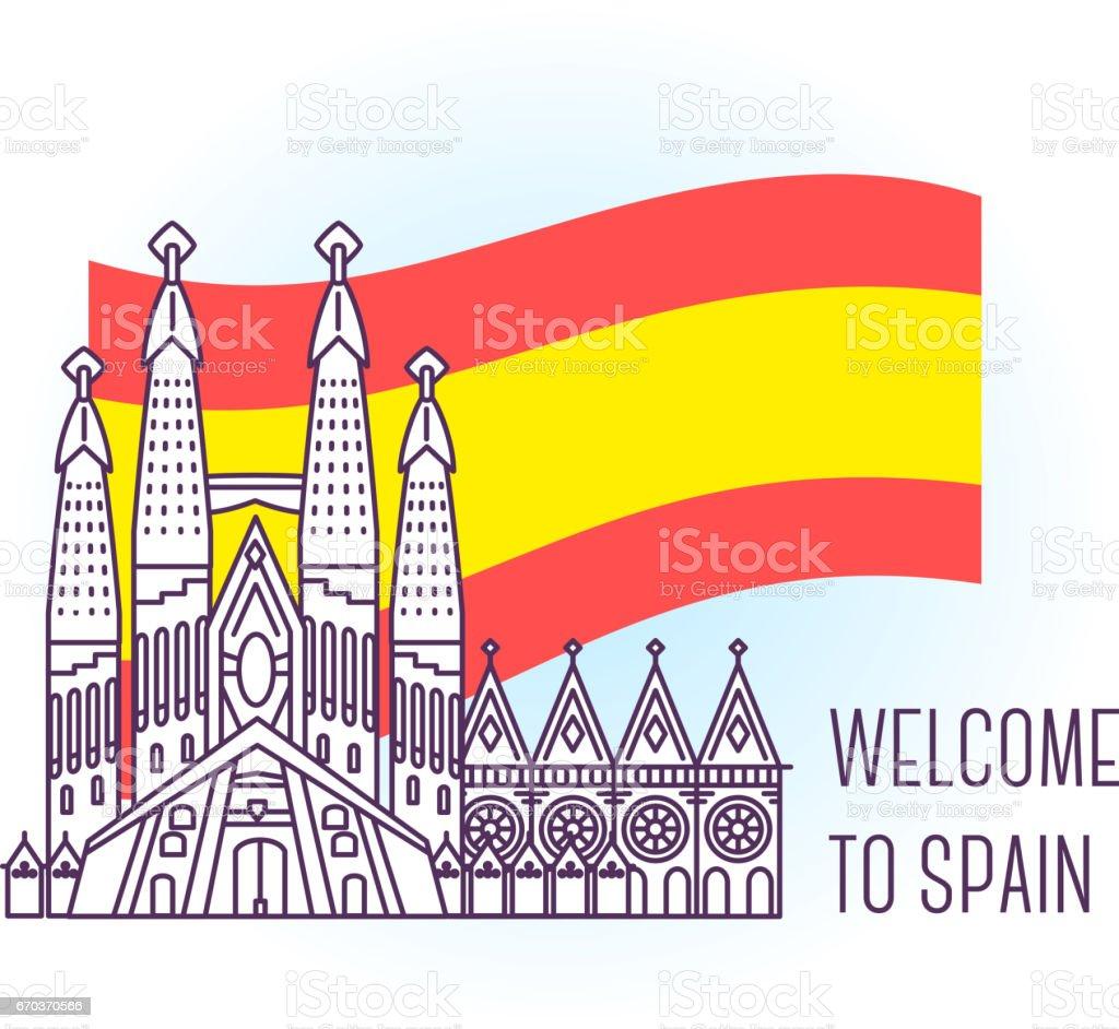 Vector illustration of catholic cathedral. Barcelona landmark. Symbol of Spain. Sight-seeing of Europe. vector art illustration
