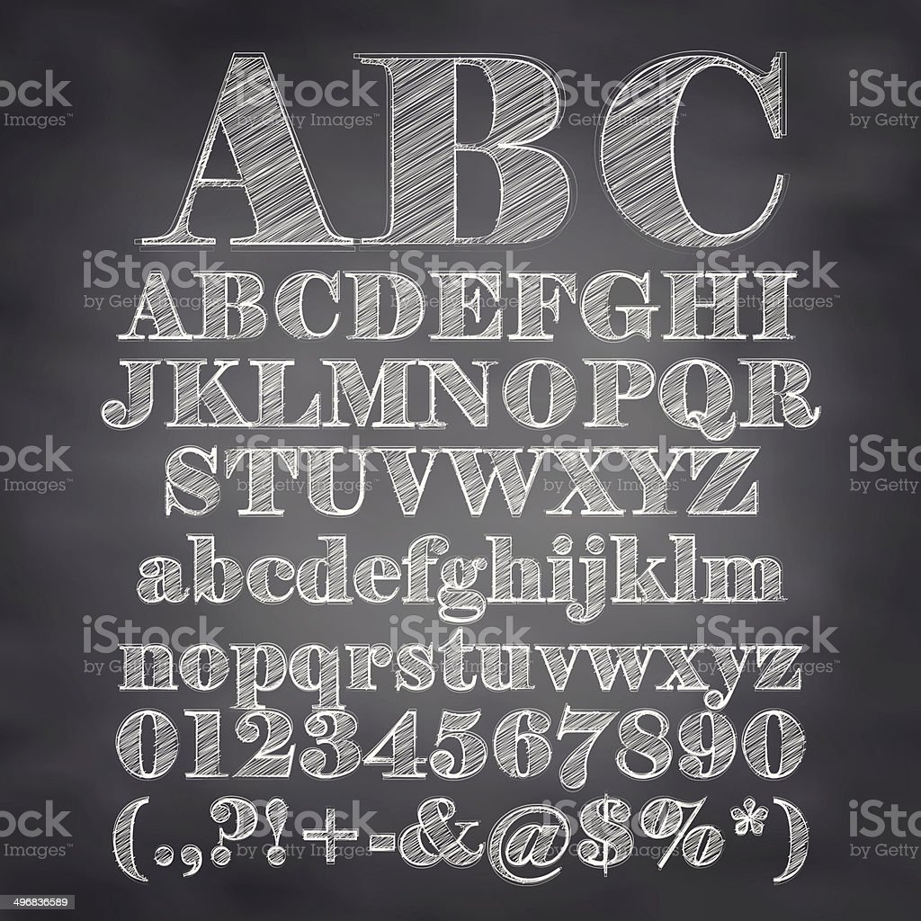 Vector illustration of chalk sketched characters on a blackboard background vector art illustration
