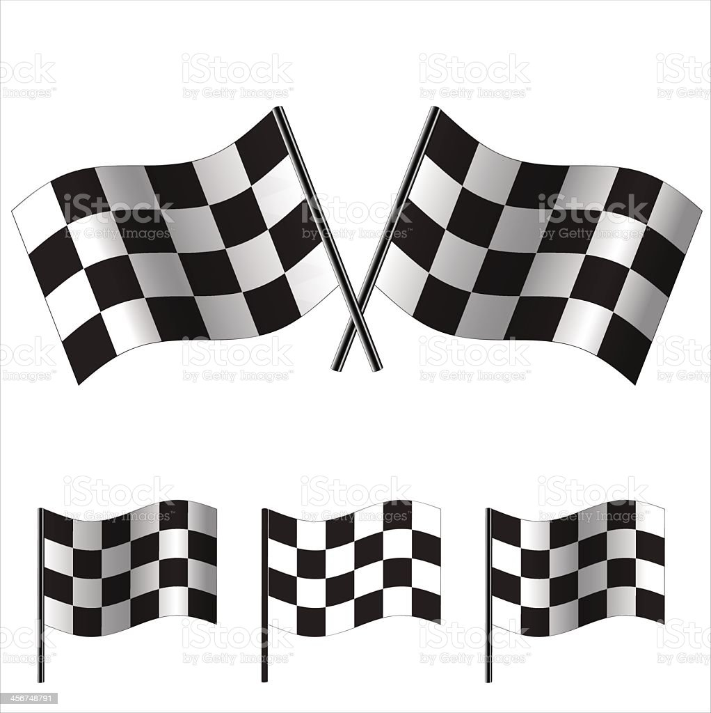 Vector illustration of checkered flags used for racing vector art illustration
