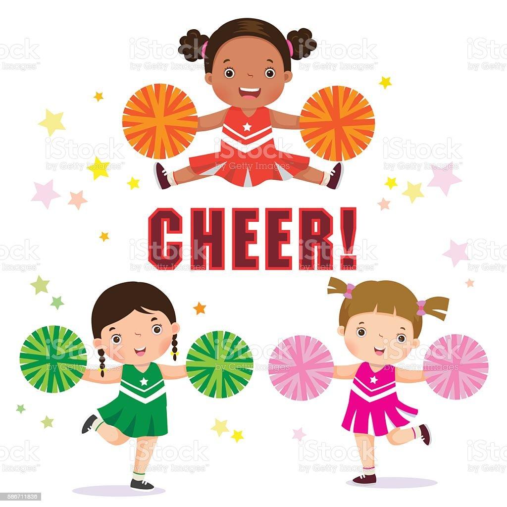 Vector illustration of cheerleader with Pom Poms vector art illustration