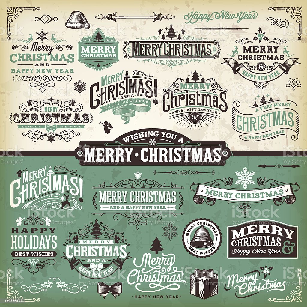 Vector illustration of Christmas labels vector art illustration