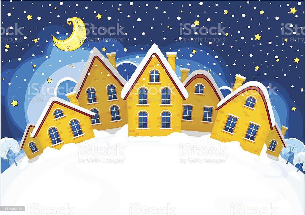 Vector illustration of Christmas suburbs royalty-free stock vector art