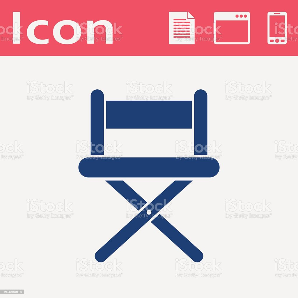 vector illustration of cinema director chair flat icon vector art illustration
