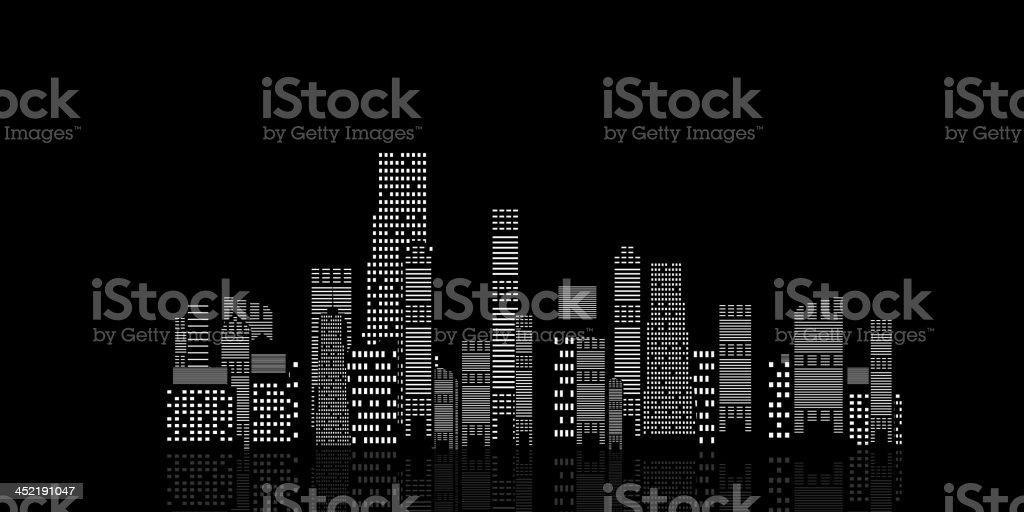 vector illustration of cities silhouette on black background vector art illustration