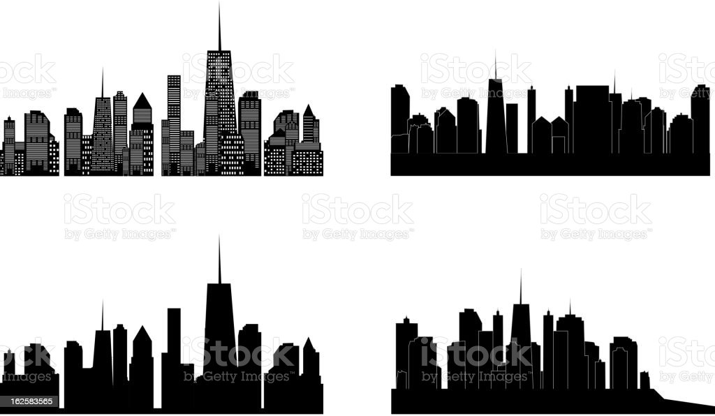 Vector illustration of cities silhouette. Set. EPS 10. royalty-free stock vector art