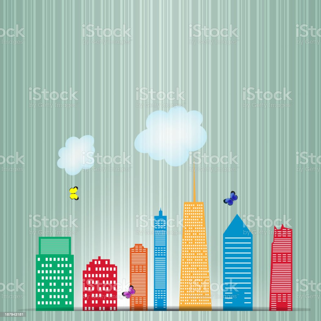 vector illustration of cities silhouette vector art illustration