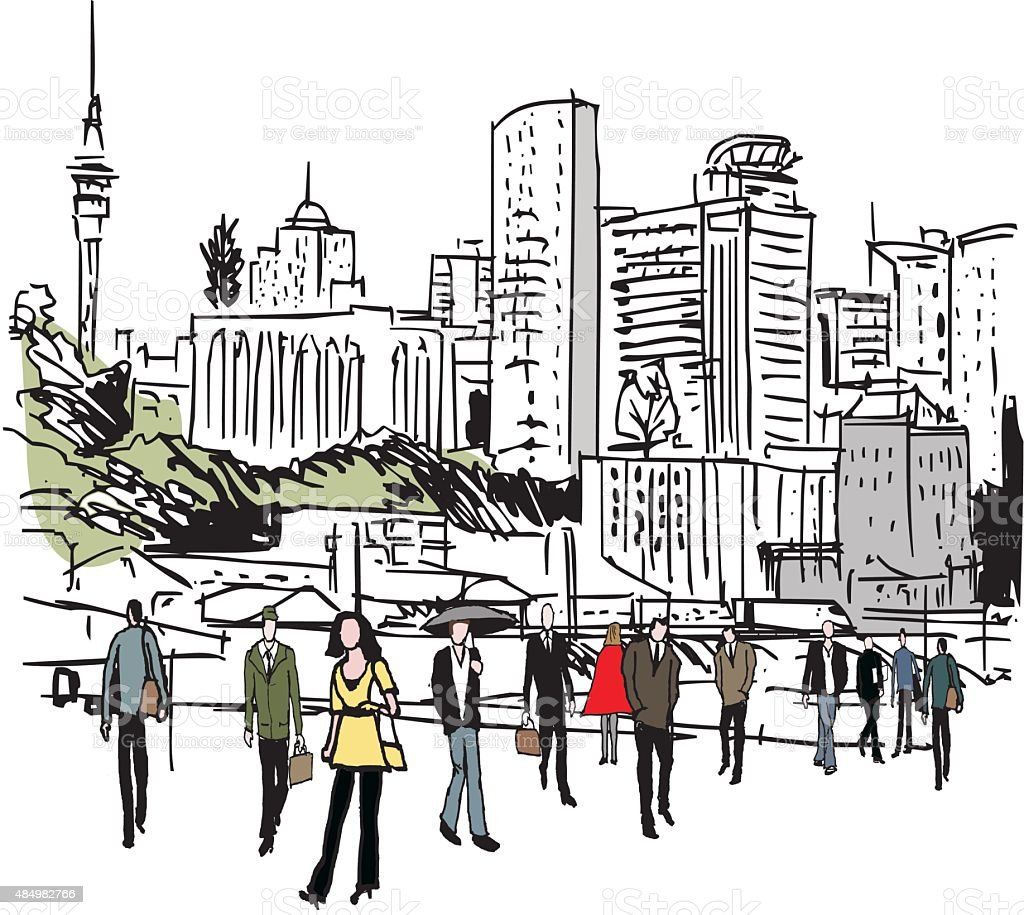 Vector illustration of city skyline and pedestrians, Auckland New Zealand vector art illustration