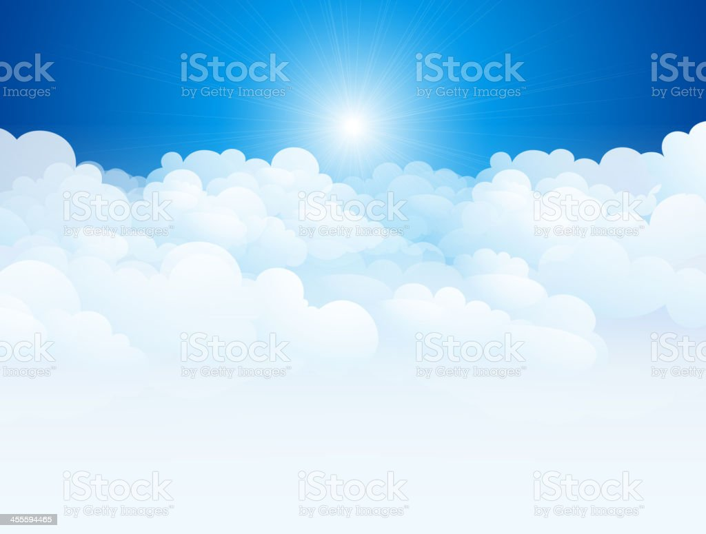 Vector illustration of clouds in blue sky vector art illustration