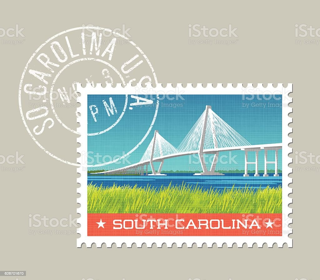 Vector illustration of coastal landscape with bridge. South Carolina vector art illustration