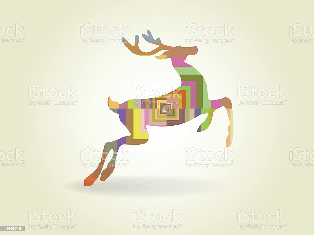 Vector illustration of  colored deer royalty-free stock vector art
