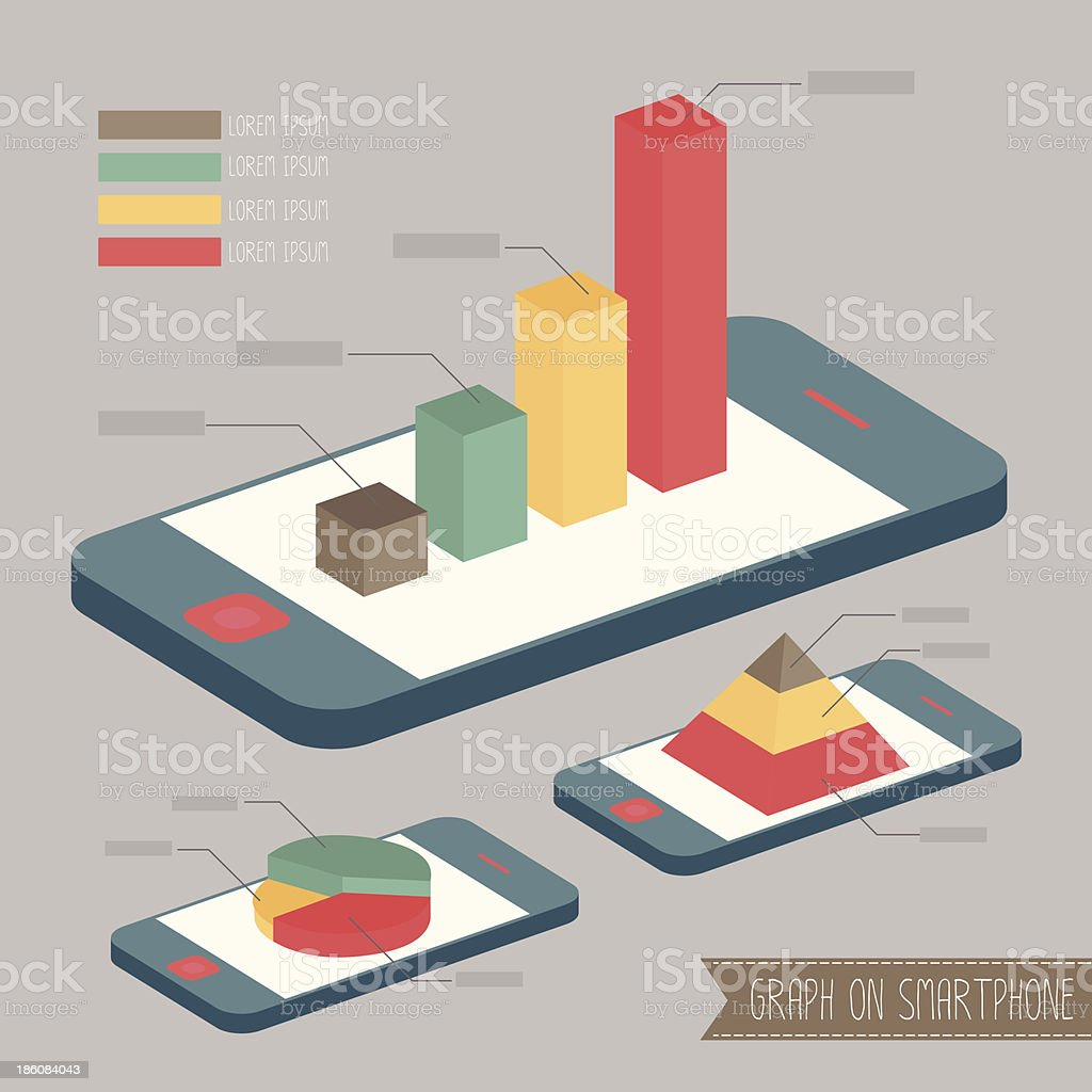 Vector illustration of colorful 3D graphs on smartphones royalty-free stock vector art