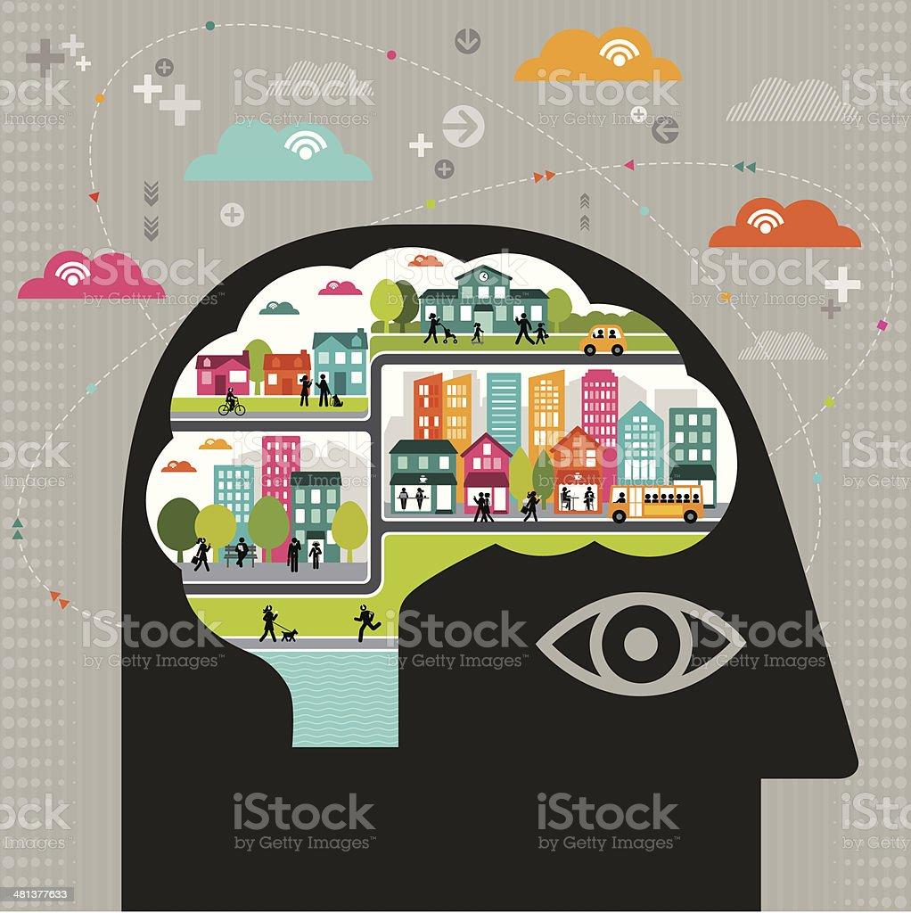 Vector illustration of community thinking vector art illustration