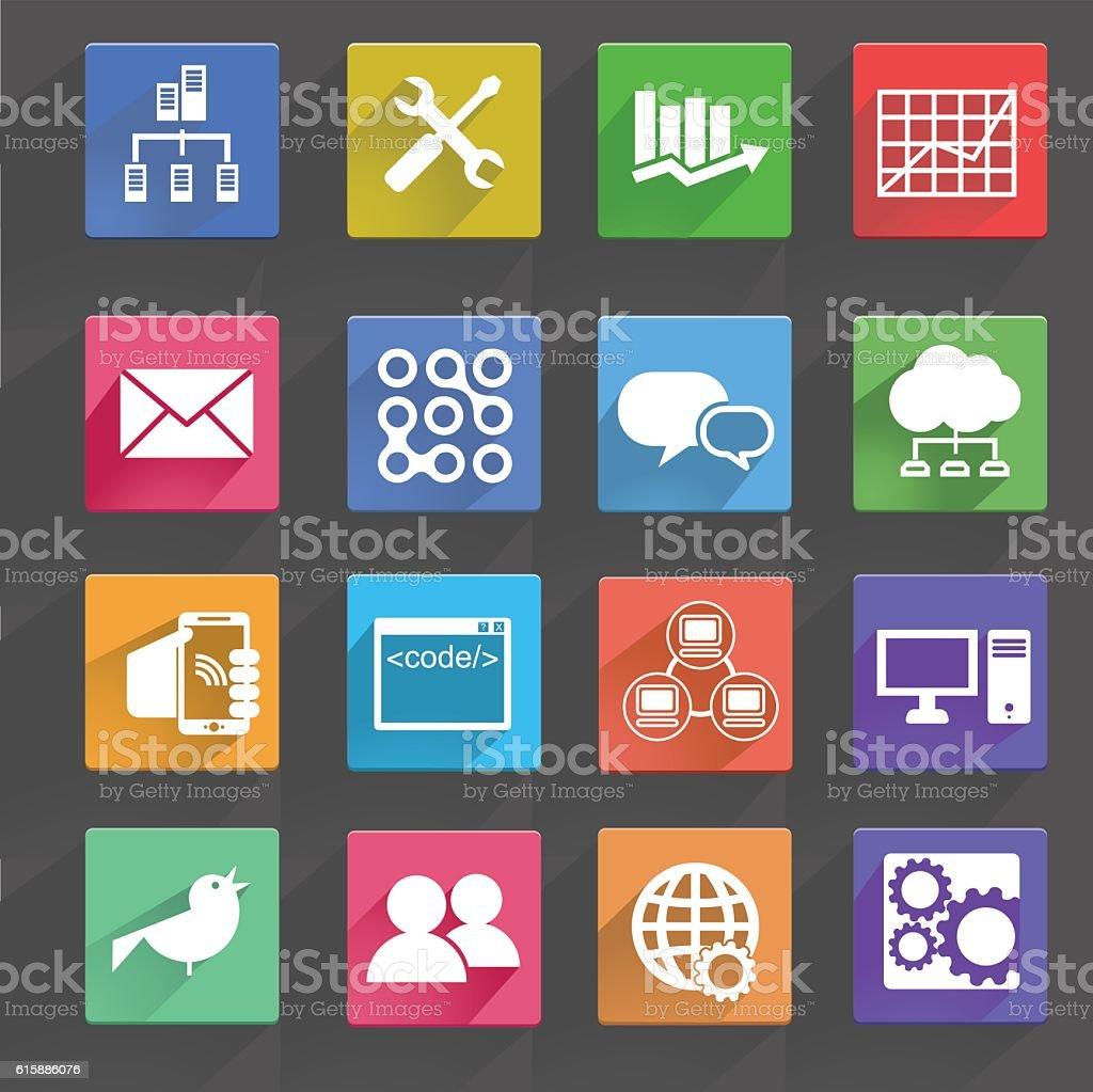 Vector illustration of computer technology icons set. vector art illustration
