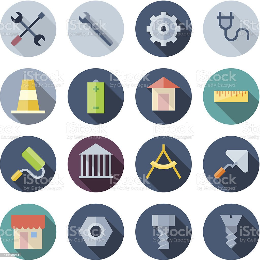 Vector illustration of construction icons on white royalty-free stock vector art