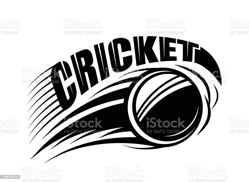 Vector illustration of cricket badge template with flying ball and vector art illustration