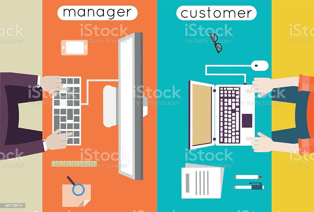 Vector illustration of customer relationship management. Business and development vector art illustration