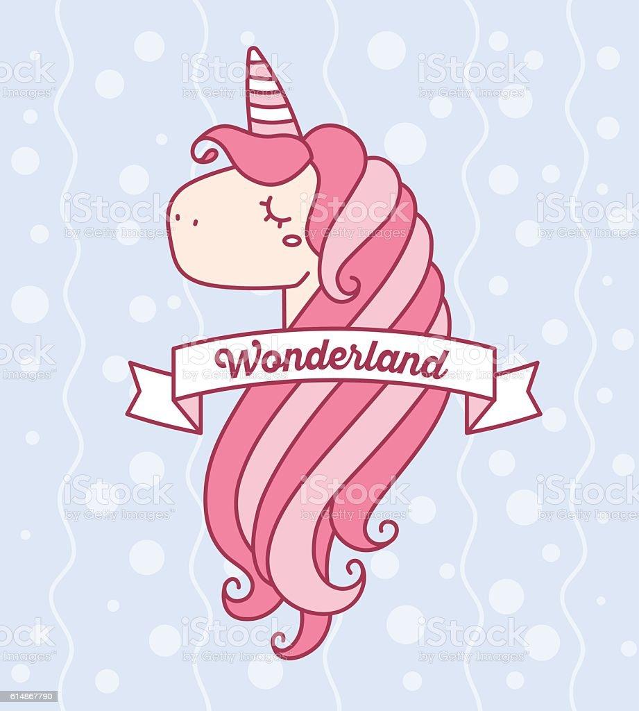 vector illustration of cute magic unicorn head with horn stock