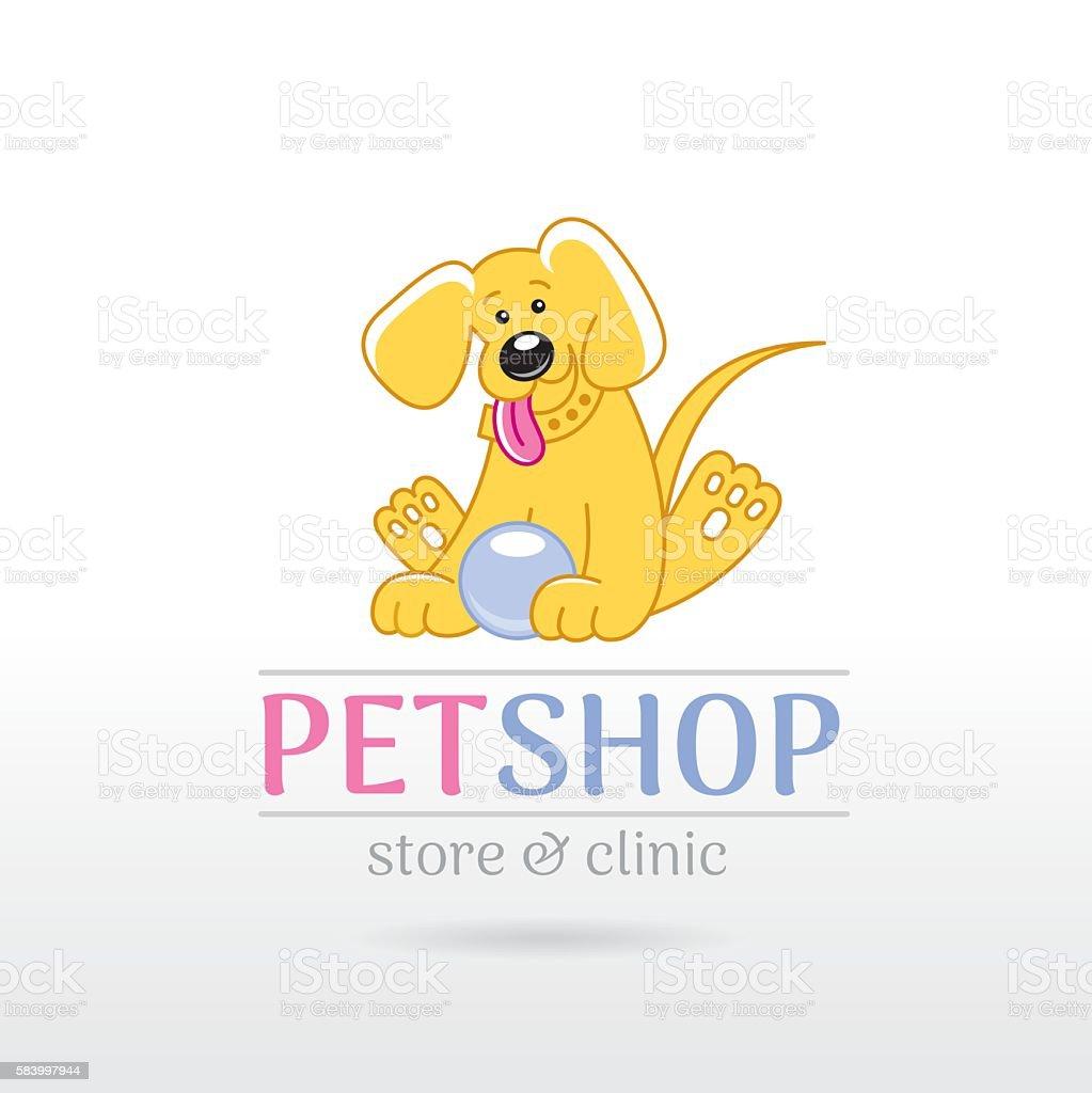 Vector illustration of cute puppy dog. Cartoon logo icon design vector art illustration