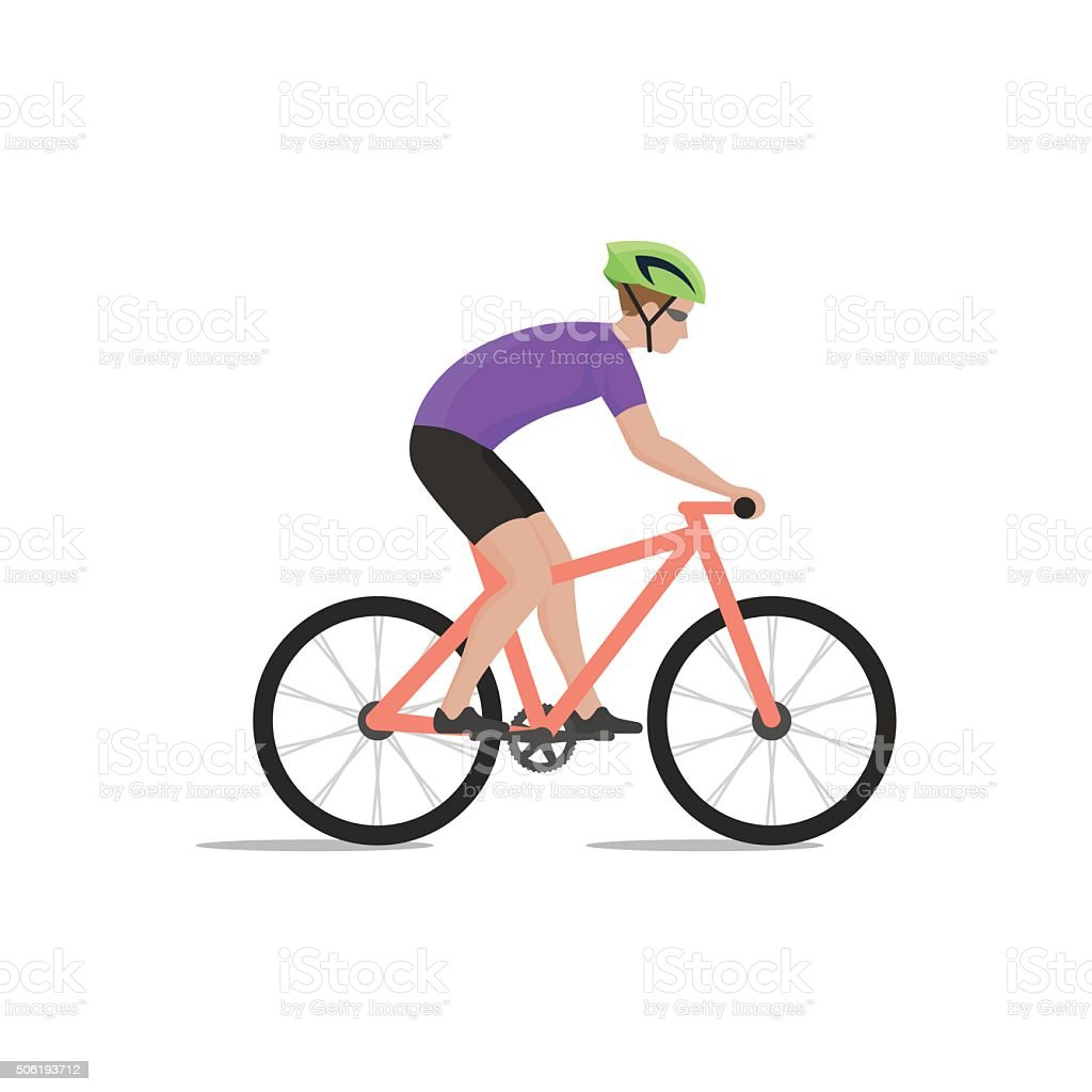 Vector illustration of cyclist on bike; biker and bicycling vector art illustration