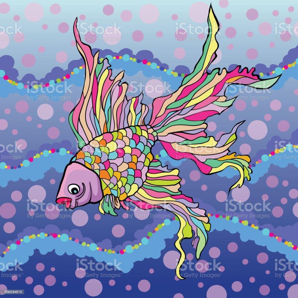Vector illustration of decorative aquarium fish vector art illustration