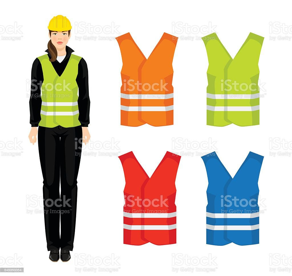 Vector illustration of different color safety waistcoat vector art illustration