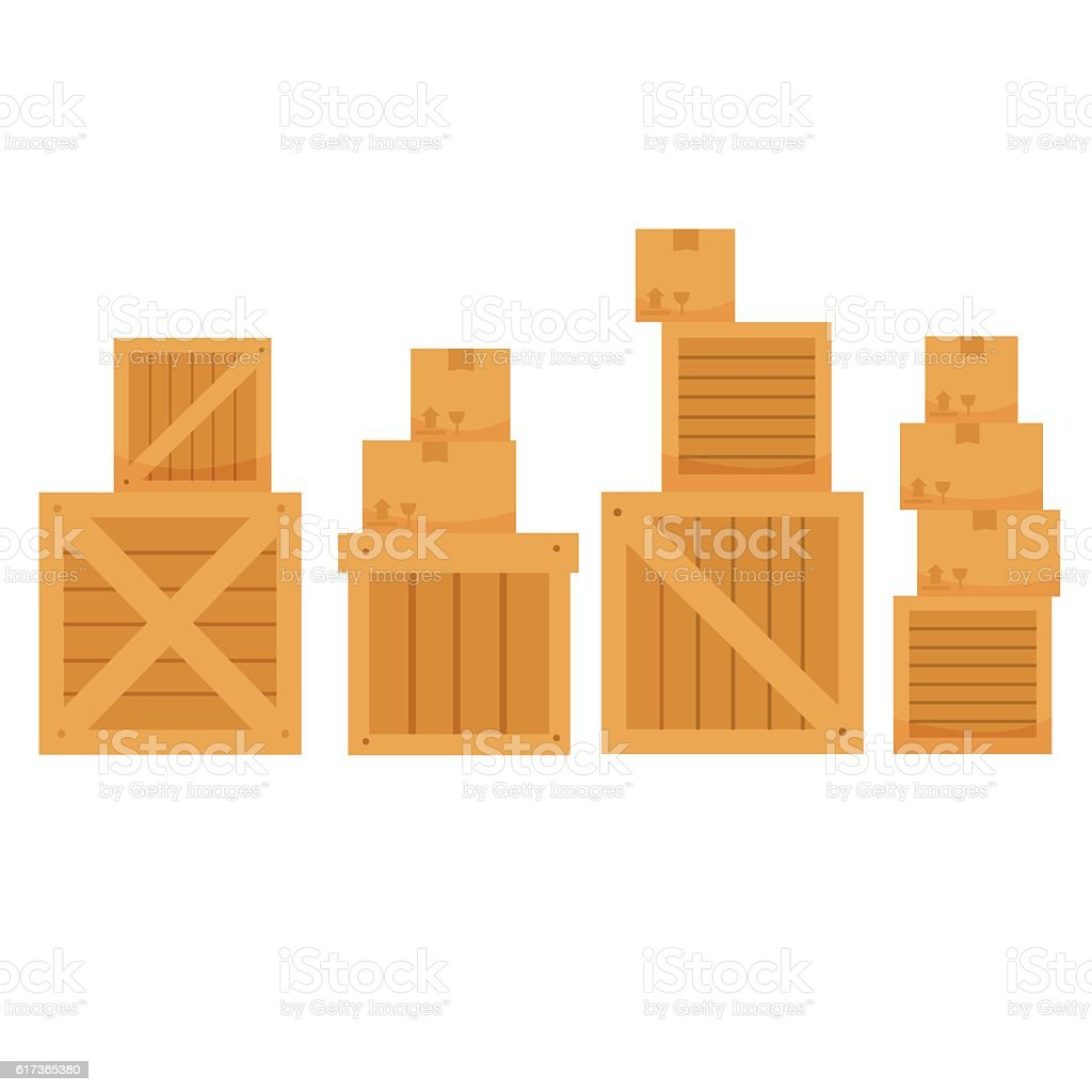 vector illustration of different shape carton box on white background vector art illustration