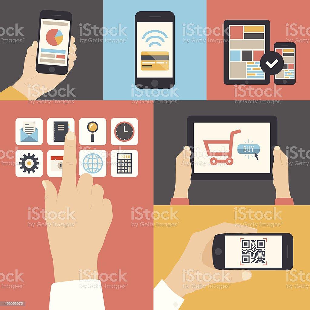 Vector illustration of digital communications vector art illustration