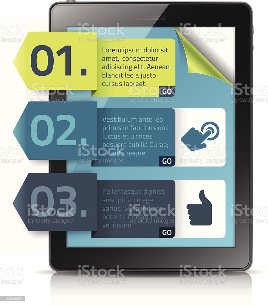 Vector illustration of digital tablet with banners royalty-free stock vector art