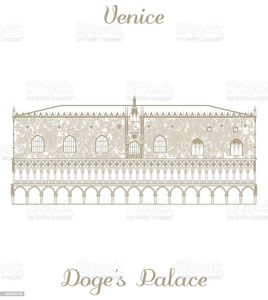 vector illustration of Doges Palace vector art illustration
