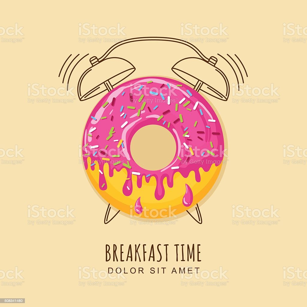 Vector illustration of donut and outline alarm clock vector art illustration
