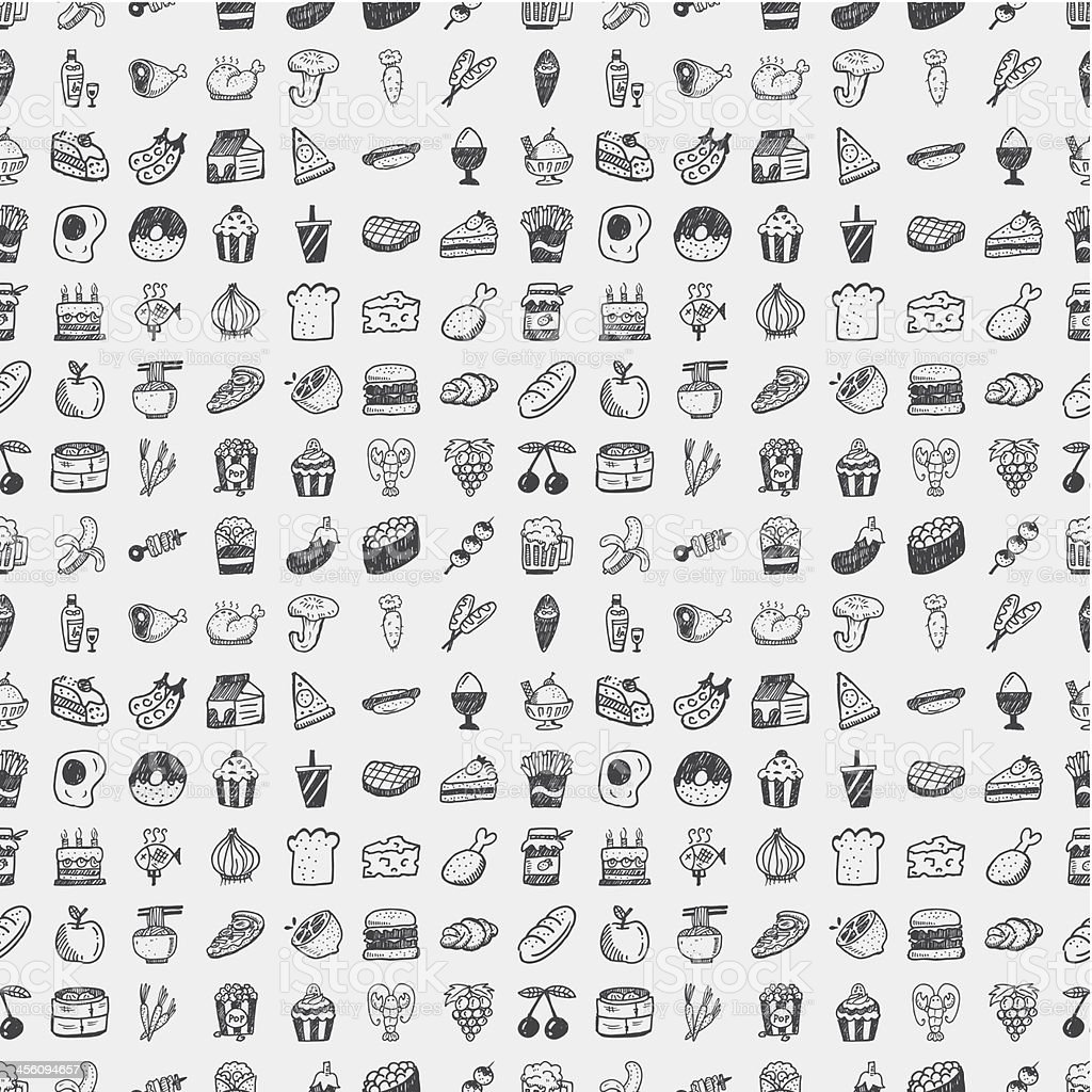 Vector illustration of doodle food pattern vector art illustration