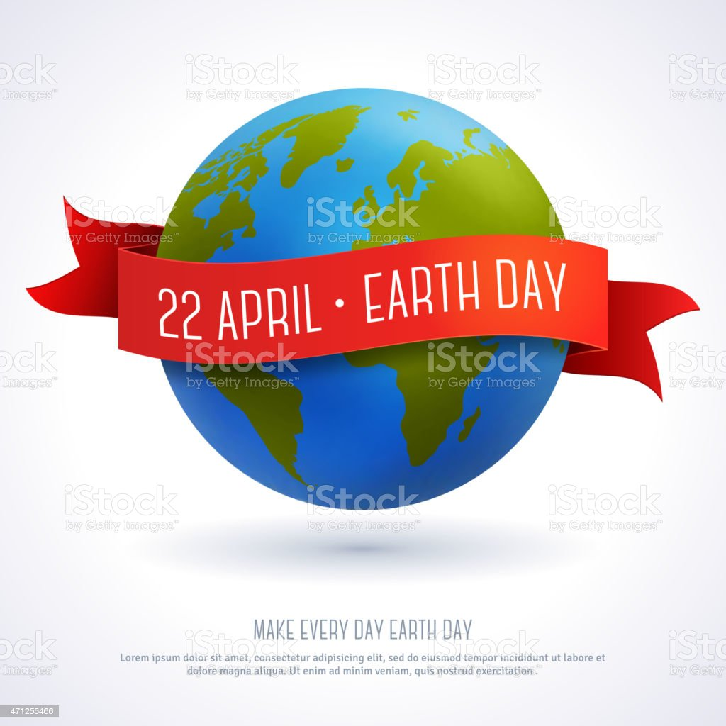 Vector illustration of earth globe with red ribbon vector art illustration