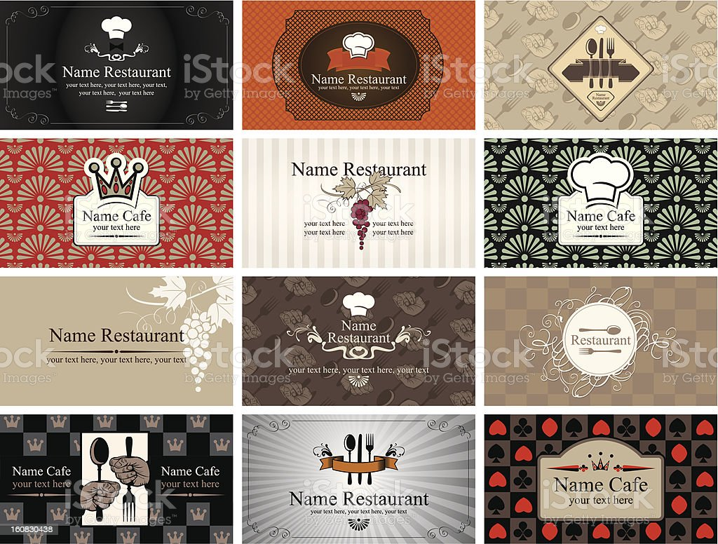Vector illustration of eatery business cards royalty-free stock vector art