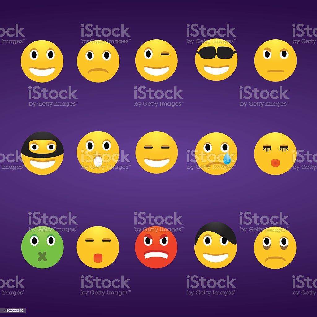 Vector illustration of emotions icons set vector art illustration