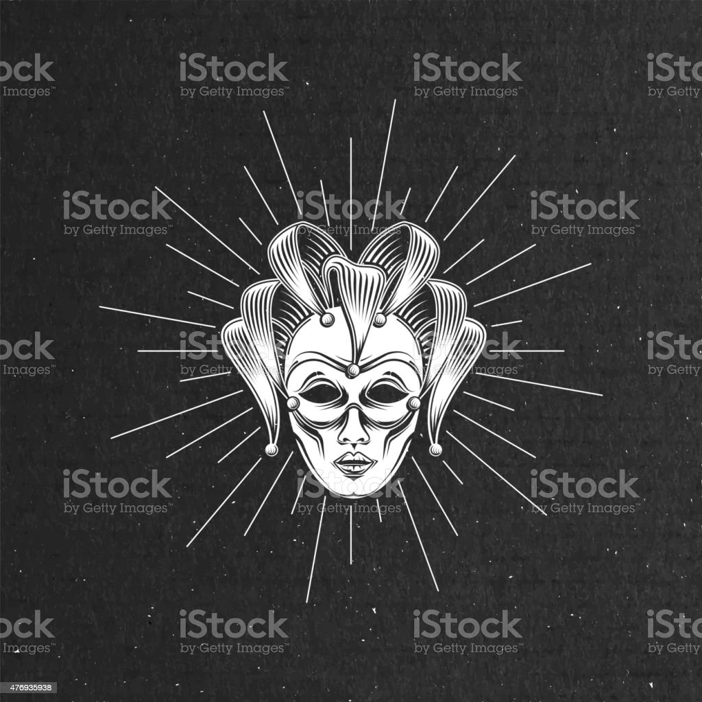 vector illustration of engraving venetian carnival mask or jester emblem vector art illustration
